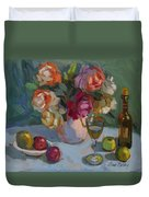 Chardonnay And Roses Duvet Cover