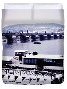 Charles Bridge In Winter Duvet Cover