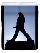 Charles De Gaulle Statue Silhouette On The Champs Elysees In Paris France Duvet Cover