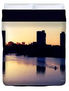 Charles River Rower At Dawn Duvet Cover by Kenny Glotfelty