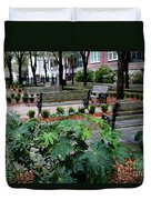 Charleston Waterfront Park Benches Duvet Cover by Carol Groenen