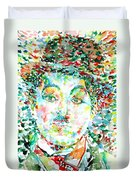 Charlie Chaplin - Watercolor Portrait Duvet Cover