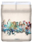 Charlotte Painted City Skyline Duvet Cover by World Art Prints And Designs