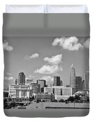 Charlotte Skyline In Black And White Duvet Cover