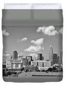 Charlotte Skyline In Black And White Duvet Cover