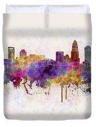 Charlotte Skyline In Watercolor Background Duvet Cover