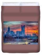 Charlotte The Queen City Skyline At Sunrise Duvet Cover