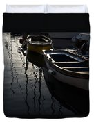Charming Old Wooden Boats In The Harbor Duvet Cover