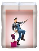 Charwoman On Pink Duvet Cover
