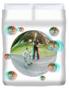 Chasing Bubbles - Red/cyan Filtered 3d Glasses Required Duvet Cover