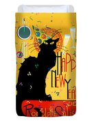 Chat Noir New Years Party Countdown Duvet Cover