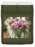 Chateau De Chenonceau Flowers On Mantle Duvet Cover