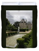 Chateau De Cheverny With Garden Fountain Duvet Cover