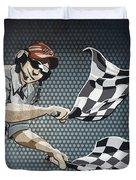 Checkered Flag Grunge Color Duvet Cover