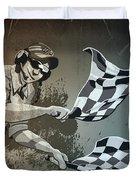 Checkered Flag Grunge Monochrome Duvet Cover
