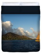 Cheerful Orange Catamaran And Diamond Head - Waikiki - Hawaii Duvet Cover