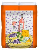 Cheese And Wine Duvet Cover