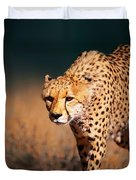 Cheetah Approaching From The Front Duvet Cover by Johan Swanepoel