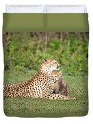 Cheetah Cub Acinonyx Jubatus Playing Duvet Cover