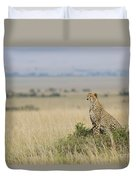 Cheetah Perched On A Mound Duvet Cover