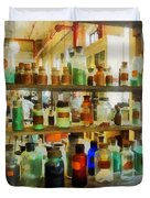 Chemistry - Bottles Of Chemicals Green And Brown Duvet Cover