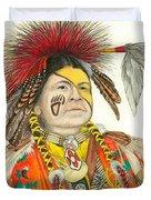Cherokee In Orange Duvet Cover by Lew Davis