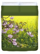 Cherry Blossom And Rapeseed Duvet Cover
