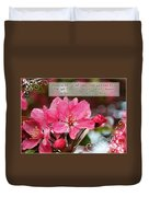 Cherry Blossom Greeting Card With Verse Duvet Cover