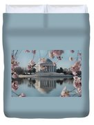 Cherry Blossoms And Jefferson Memorial Duvet Cover