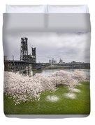Cherry Blossoms Along Willamette River Duvet Cover