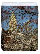 Cherry Blossoms And The Monument Duvet Cover