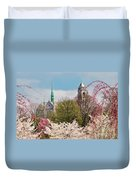 Cherry Blossoms And The Sacred Heart Duvet Cover