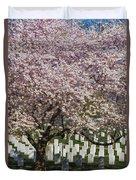 Cherry Blossoms Grace Arlington National Cemetery Duvet Cover by Susan Candelario