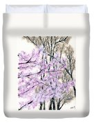 Cherry Blossoms In Spring Snow Duvet Cover