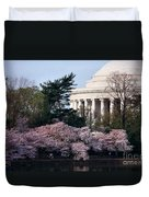 Cherry Blossoms Jefferson Memorial Duvet Cover
