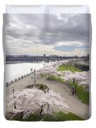 Cherry Blossoms Trees Along Willamette River Waterfront Duvet Cover