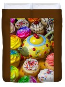 Cherry Teapot And Cupcakes Duvet Cover