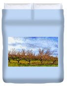 Cherry Trees With Blue Sky Duvet Cover