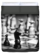 Chess Game In Black And White Duvet Cover