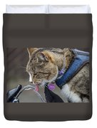 Chester At The Drinking Fountain Duvet Cover