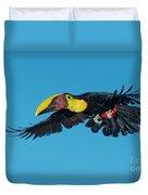 Chestnut-mandibled Toucan Flying Duvet Cover