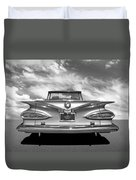 Chevrolet Impala 1959 In Black And White Duvet Cover