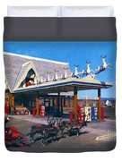 Chevron Gas Station At Santa's Village With Reindeer And Carl Hansen Duvet Cover