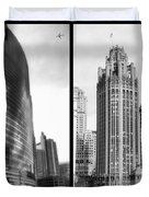 Chicago 333 And The Tower 2 Panel Bw Duvet Cover