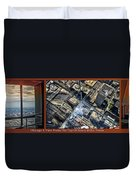 Chicago A View From The Top Of Sears Willis Tower Hdr Triptych 3 Panel Duvet Cover