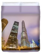 Chicago At Night Duvet Cover