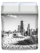 Chicago Beach And Skyline Black And White Photo Duvet Cover