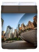Chicago Bean Cloud Gate Sculpture Reflection Duvet Cover