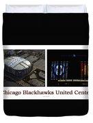 Chicago Blackhawks United Center 2 Panel White Signage Duvet Cover