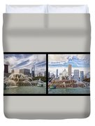 Chicago Buckingham Fountain 2 Panel Looking West And North Black Duvet Cover